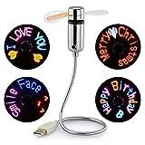 JUBLUN Ventilador USB, Ventilador LED programable para PC, portátil, Escritorio, Cuello de Cisne Flexible, Colorido Ventilador de refrigeración