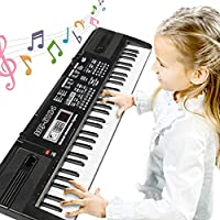 Digital Music Piano Keyboard 61 Key - Portable Electronic Musical Instrument Multi-function - Microphone Kids Piano Musical Teaching Keyboard Toy Birthday Gift for Kids Girls Boys