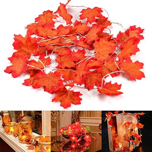 Herbst Dekoration Blätter Lichterketten, MUSCCCM 20 LED Maple Leaf Lichterketten Lamp String Urlaub Beleuchtung Dekorationen, Thanksgiving & Weihnachtsbeleuchtung (Blätter Herbst Im Dekorationen)