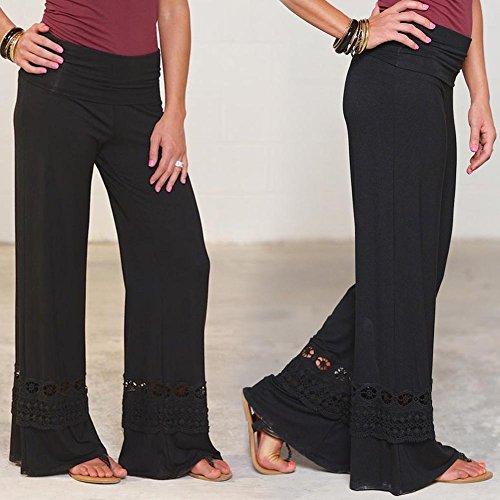 Femme Yoga Pantalon Taille Basse Pantalon évasé Dentelle Pantalon Avec Collants Patchwork Bloomers Danse Pantalon Élégant Doux Confortable 6 Couleurs S-5XL Juleya noir B