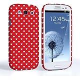 Caseflex Samsung Galaxy S3 Hülle Rot / Weiß Nette Herzen Valentinstag Hart Hybride Schutzhülle