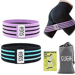 SueH Design Anti-Rutsch-Widerstand-Hüftband für Bein- und Po-Training Stoff-Übungs-Loop-Band zu Hause und in Reisen | Geeignet für Yoga Pilates Gewichtheben Set von 2