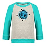 Clifton Baby Boys Raglan Printed Full Sleeve T-shirts -Grey Melange-Teal -Born To Win -12-18 Months