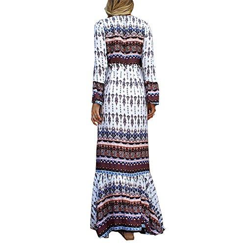 JOTHIN Style Thaïlandais Bohème Col V à Manches Longues imprimé Robe Couverture logement Trompette Manches Plage Robe Blanc-K
