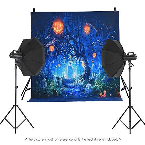 Andoer Andoer 1.5 * 2m Telón de Fondo de Fotografía Impresión Digital Halloween Calabaza Cementerio Patrón de la Impresión para Foto Estudio