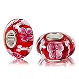 MATERIA Muranoglas Beads Perle rosa rot AZALEE für European Beads Armband/Kette #1668