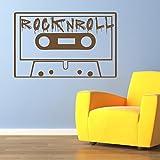 Rock-n-Roll-Kassette-Musiker-Band-Logos-Wandsticker-Musik-Kunstabziehbilder-verfgbar-in-5-Gren-und-25-Farben-X-Gro-Nuss-Braun