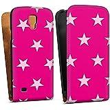 Samsung Galaxy S4 Active Tasche Schutz Hülle Walletcase Bookstyle Stern Pink Muster