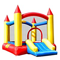 GYMAX Bouncy Castle Large Inflatable Jumper High Wall House Slide W/Hoop & Basketball Outdoor