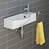 iBathUK | Modern Ceramic Cloakroom Basin Compact Wall Hung Bathroom Sink CA1007