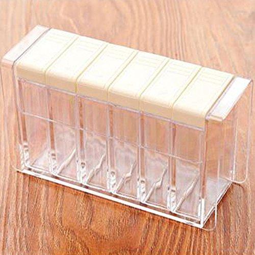 Preisvergleich Produktbild zantec 1PCS Würze Box mit 6Spice Shaker und Tablett Speisewürze Container Küche Werkzeug weiß