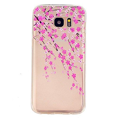TKSHOP Custodia TPU Silicone sottile per Samsung Galaxy S7 Edge Case Cover Materiale Morbida Caso Flessibile Trasparente Ammortizzante Antiurto Bello Dipinto - Fiore della pesca