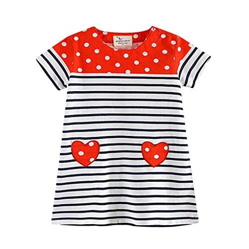 JERFER Mädchen Liebe Punkt Streifen T-Shirt Top Bluse Kurzarm-Shirt 1.5-6Jahre (Rot, 4T)