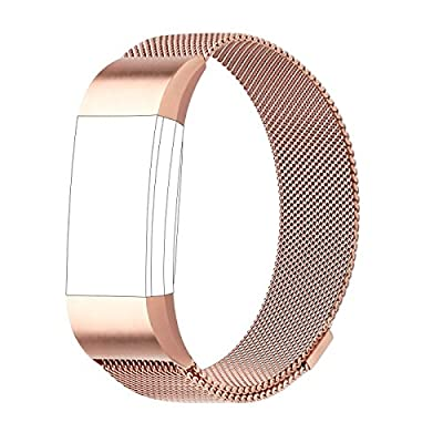For Fitbit Charge 2 Strap Bands Replacement, Milanese Loop Stainless Steel Bracelet Smart Watch Wristbands with Unique Magnet Lock for Fitbit Charge 2
