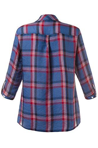 GINA_LAURA Damen Hemd | Karo-Muster | Kragen, Knopfleiste | 3/4-Arm, Riegel | bequem geschnitten, bis Größe XXXL 707725 Navy