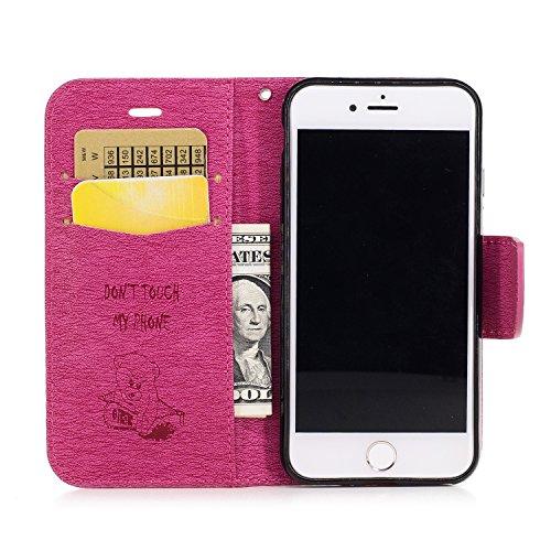 iPhone 7 4,7 Coque, Voguecase Étui en cuir synthétique chic avec fonction support pratique pour Apple iPhone 7 4,7 (Big papillon II-Gris)de Gratuit stylet l'écran aléatoire universelle Ours-Rose