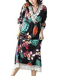 YAOMEI Largo Camisón para Mujer Camisones Raso Satin Pijamas, lencería Spaghetti Strap Babydoll Satén Floral