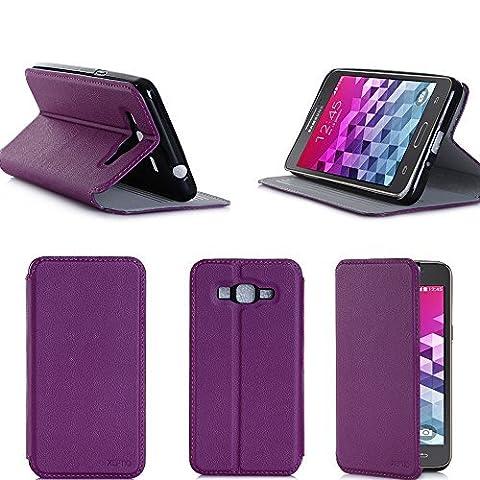Etui luxe Samsung Galaxy Grand Prime 4G / Grand Prime VE Value Edition violet Ultra Slim Cuir Style avec stand - Housse coque de protection Samsung Galaxy Grand Prime LTE 4G SM G530/G530F/G530FZ/G530H violette - accessoires pochette XEPTIO :