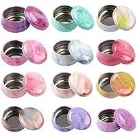 Hileyu - Caja de metal para velas, 12 unidades, con tapa, para galletas, té, dulces, joyas, objetos pequeños