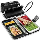 GBOS® schwarze echtes Luxus-Leder-Standplatz-Mappen-Schlag-Fall-Abdeckung für LG G5 mit freiem Schirmschutz (speziell gefertigten - Premium Qualität) Antique Leather Case