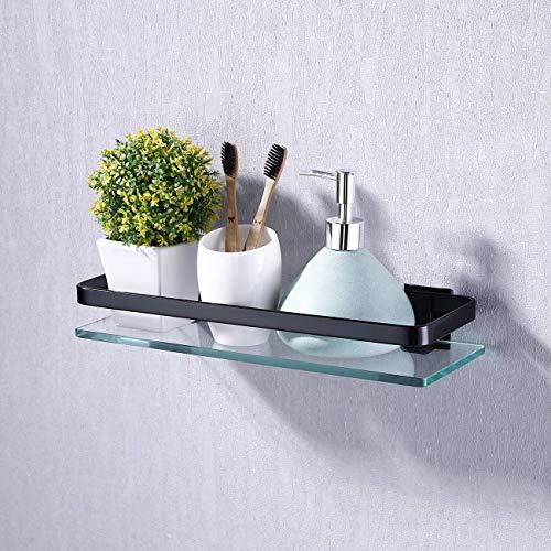 Kes Bad Glasablage mit Rail Aluminum und Zusätzliche Dicke Temperiert Glas Dusche Regale Rechteckige Zeitgenössische Stil Wandhalterung, Schwarz, A4126A-BK (Möbel Bin Lagerung)