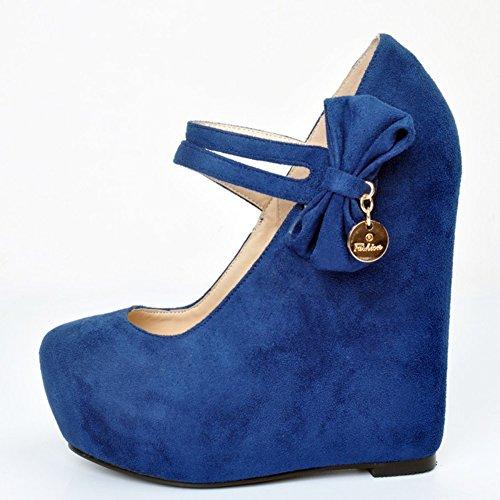 Veloursleder Blue Kolnoo Keil Faux Absatz 15cm Schuhe Pumpen Gerichts Faschion Querbinder Damen Plattform 4x1xwnIUf