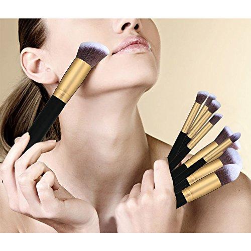 TASIPA 10Pcs Make-up Pinsel Sets, Make-up Schönheit Pinsel Woods Set für Make-up, Make-up Pinsel Set Kit mit einem tragbaren Reisetasche (Gold + Schwarz) - 6