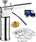 #1: Kreyam's Stainless Steel Kitchen Press Grater Cookies/Indian Snakes/Murukku Maker/Farsan Sev Maker with Stailess Steel Jalis