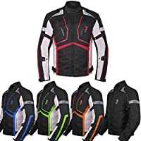 HWK Chaqueta de moto para hombre de tela Dualsport Enduro Motocross Racing Biker Riding CE blindado