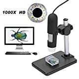 Aomekie 1000X USB Digitales Mikroskop Magnifier Endoscope Video Kamera mit 8 LEDs und höhenverstellbarer Ständer für Computers und Handys