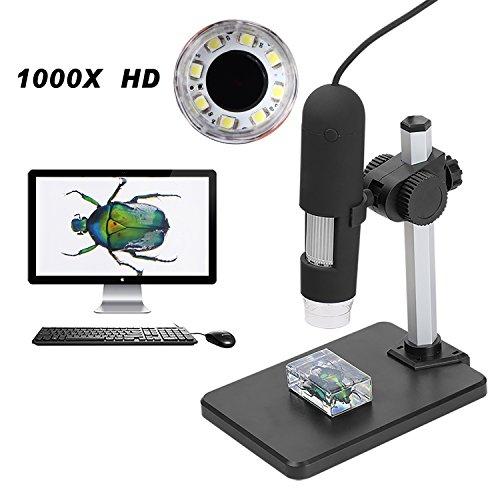 Aomekie 1000X USB Digitales Mikroskop Magnifier Endoscope Video Kamera mit 8 LEDs und höhenverstellbarer Ständer für Computers und Handys Kabel Sw Net