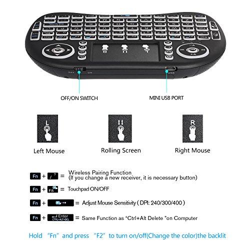 Mini drahtlose Tastatur, Wishpower 2,4Ghz mini wireless Keyboard LED Hintergrundbeleuchtung Ergonomische tastatur mit touchpad für tastatur Smart TV, Raspberry Pi 3, PC fernbedienung (weiß) - 4