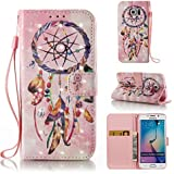 Coque pour Samsung Galaxy S6 Edge Étui Bookstyle , Samsung Galaxy S6 Edge Coque Flip Housse Wallet Protection Etui,Cozy Hut Motif Retro Peint Housse en Cuir Case à Avec Dragonne rabat Coque de Intérieure Protection Souple Portefeuille TPU Silicone Case Cover pour Samsung Galaxy S6 Edge - Dreamcatcher