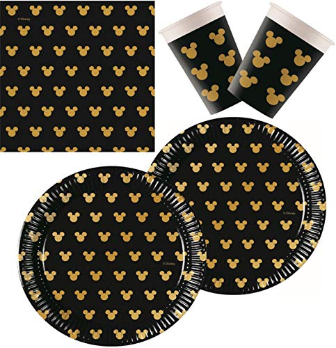 Procos 10133063 Partyset Disney Mickey Mouse, Gold (Mouse Party-artikel Mickey)