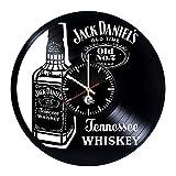 OOFAY Clock@ Wanduhr Vinyl Schallplattenuhr Familien Dekoration Eine Flasche Whisky 3D Design-Uhr Kunst Geschenk Schwarz/30CM*30CM*5CM