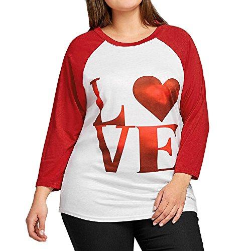 HARRYSTORE Große Größe Lady Love Drucken Langarm-Shirt Rot Größen-Frauen-Liebes-Druckhemd-Lange Hülsen-Beiläufige Hemd-Oberseiten-Bluse (Rot, 3XL) (Tank Ribbed Junioren)