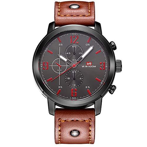 WSW Noble Herren Freizeitmode Braun Glas + Edelstahl Quarzwerk Gürtel Sport wasserdichte Dornschließe Uhr Mode