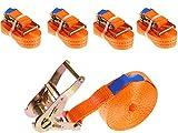 INDUSTRIE PLANET 4 Stück 2000kg 6m Spanngurte mit Ratsche 1 teilig einteilig Zurrgurte Ratschengurt 35mm orange 2000 daN 2t