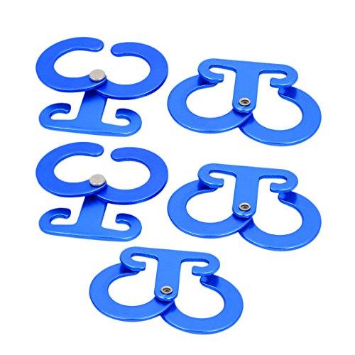 sourcing map Accessoire Dehors Alliage Aluminium Tente autoblocage Réglage Corde 5pcs Bleu
