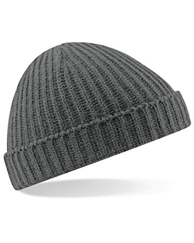 Beechfield Unisex Baseball Cap Retro Trawler Winter Beanie Hat, Grey (Smoke Grey), One size