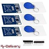 AZDelivery 3 x Kit RFID RC522 Lecteur, Puce et Carte pour Arduino et Raspberry Pi y compris un eBook