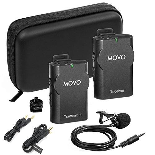 Kamera Deluxe-set (Movo WMIC10 2.4GHz drahtlos Lavalier Mikrofon System für DSLR Kameras, iPhone/iPad/Android Smartphones, & Camcorder (25m Übertragungsreichweite))