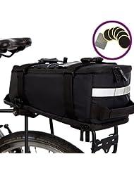 Mochila impermeable Deluxe de BTR (negra) para el portaequipajes trasero con correa para el hombro integrada, cinta reflectante y 6 parches de reparación. Impermeabilidad 100% garantizada: protege TODOS sus objetos de la lluvia. Se adapta a TODOS los portaequipajes traseros de bicicleta