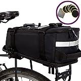 BTR Deluxe wasserfeste Fahrradtasche für den Gepäckträger – schwarz – mit integriertem Schultergurt, Reflektoren & 6 Reifenreparatur-Flicken. 100% garantierter Regenschutz für ALL Ihre Wertsachen – Pa