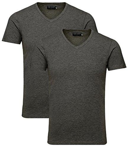 JACK & JONES Herren 2er Pack T-Shirt Basic V-Ausschnitt 12059219 2x dunkelgrau