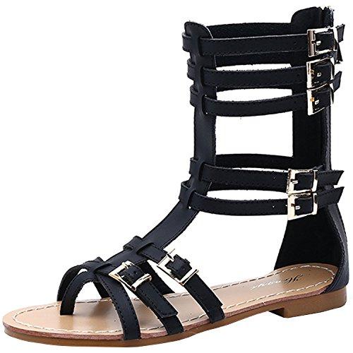 Azbro Women's Fashion Back Zip Flat Gladiator Thong Sandals Black