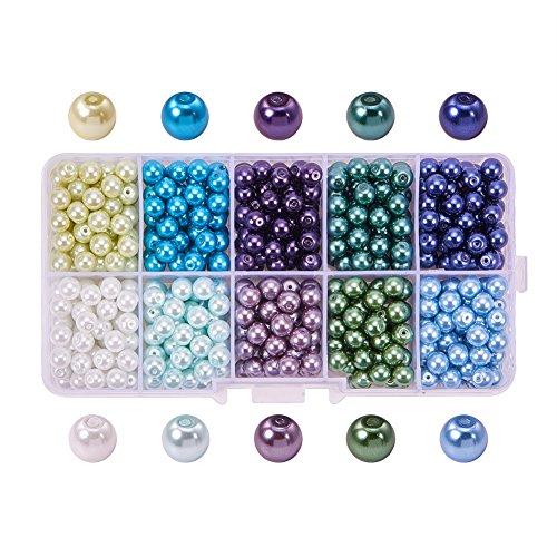 PandaHall Elite Bestsellers 10 Farbumwelt pearlized Glasperlen runde Perlen, 600 St¨¹ck / Kasten