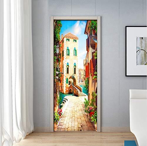 swsongx 3D Türaufkleber Kinderzimmer Door Stickers PVC Self-Adhesive Waterproof Venice Town Street Wall Stickers Wallpaper for Living Room Door Decals Home Decor 3D 77x200cm