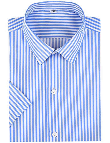 DOKKIA Herren Casual Business Ärmel Vertikal gestreift Kleid Shirts Gr. S, Short Sleeve-Light Blue White -