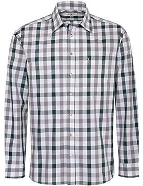 Almsach Trachtenhemd Lukas Regular Fit mehrfarbig in Dunkelgrün und Grau inklusive Volksfestfinder